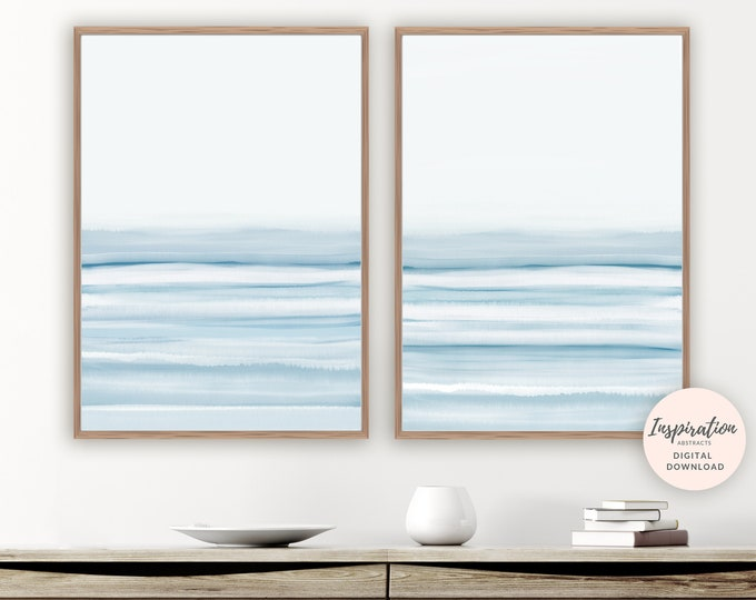 Serene Watercolor Paintings, Modern Wall Art, Set of 2 Prints, Printable Wall Art, Bedroom Decor, Zen Wall Art, Abstract Wall Art