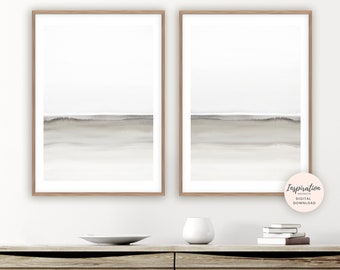 Calming Watercolour Paintings, Set of 2 Prints, Minimal Painting, Modern Wall Art, Living Room Decor, Neutral Decor, Zen Wall Art