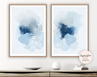 Calming Mixed Media Art, Beach House Decor, Diptych wall Art, Set of 2 Prints, Abstract Wall Art, Modern Wall Art, Bedroom Decor