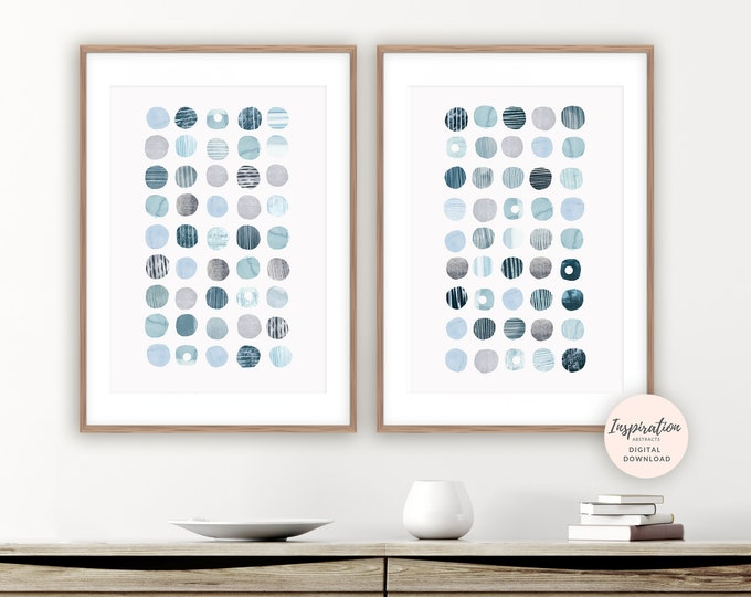 Abstract Geometric Art, Circles Print,  Modern Wall Art, Set of 2 Prints, Beach House Decor, Printable Wall Art, Zen Wall Art, Abstract Art