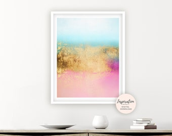 Colourful Abstract Art, Printable Art, Bedroom Decor, Gold Painting, Modern Wall Art, Abstract Nursery Art, Nursery Decor