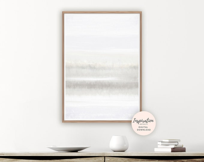 Grey and White Minimal Painting, Zen Wall Art, Large Abstract Art, Printable Art, Neutral Wall Art, Mixed Media Art, Minimalist print