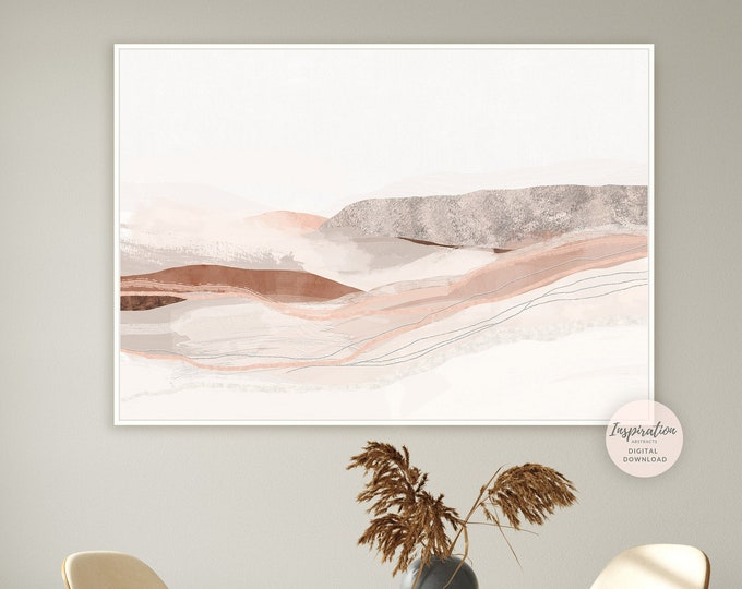 Printable Landscape Painting, Earth Tone Print, Minimal Abstract Art, Landscape Print, Printable Art, Modern Wall Art, Large Wall Art