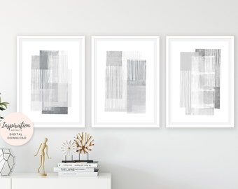 Minimal Art Prints, Set of 3 Grey and White Paintings, Modern Wall Art, Geometric Art, Abstract Art, 24x36 Art Prints, Printable Wall Art