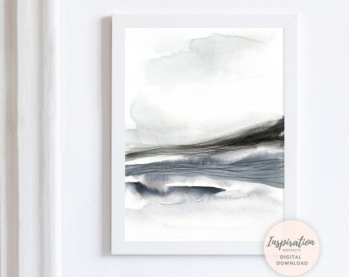 Minimal Landscape Painting, Large Wall Art, Grey White Wall Art, Watercolour Landscape, Printable Art, Watercolour Print, Zen Wall Art