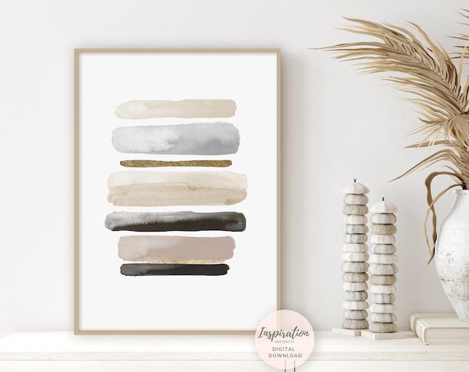 Minimalist Watercolour Painting, Zen Decor, Abstract Art, Instant Download Art, Neutral Decor, Living Room Wall Art, Office Wall Art