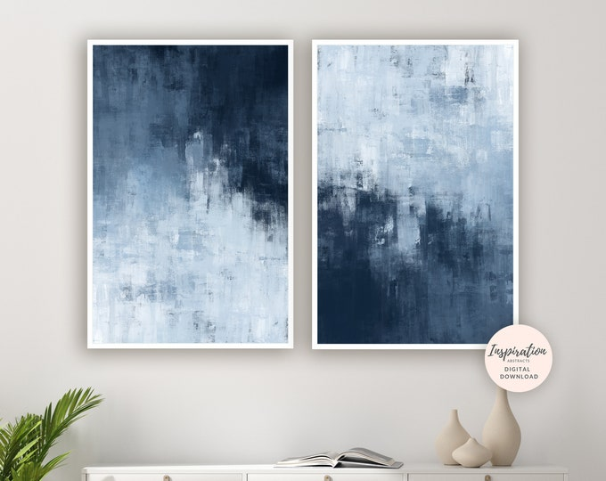 Navy Abstract Art, Set Of Two Prints, Large Wall Art, Printable Art, Living Room Art, Minimal Abstract Art, Modern Wall Art, Blue Paintings