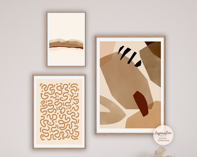 Abstract Gallery Wall Set, Printable Art, Earth Tone Art, Minimalist Gallery Wall, Simple Wall Art, Minimal Large Prints, Digital Prints