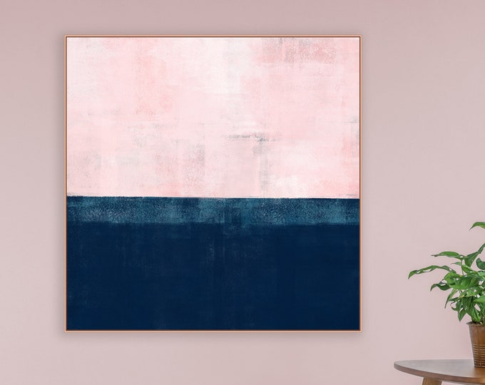 Pink and Navy Art, Abstract Painting, Large Abstract Art, Original Art, Large Wall Art, Bedroom Decor, Giclee Print, Modern Art