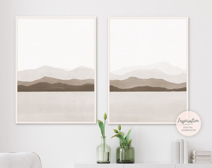 Set Of Two Abstract Mountain Prints, Landscape Paintings, Minimal Print Set, Printable Art, Set of 2 Prints, Living Room Art, 24x36 Prints