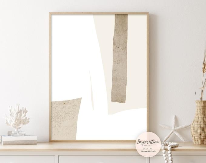 Beige And White Minimalist Wall Art, Printable Art, Modern Zen Wall Art, Abstract Art, Simple Wall Art, Large Minimal Art, Office Decor