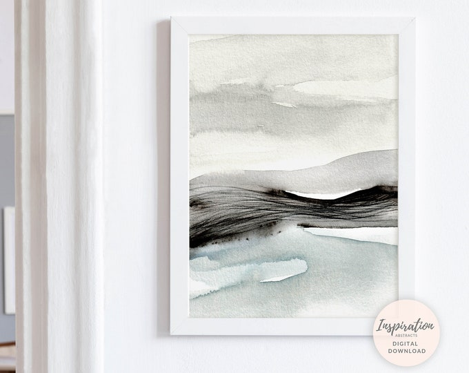 Landscape Painting, Large Wall Art, Blue Grey Wall Art, Printable Art, Watercolour Print, Zen Wall Art, Minimalist Print, Abstract Art