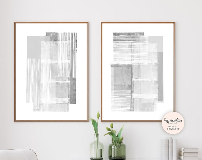 Set of 2 Minimal Art Prints, Grey Abstract Art, Grey and White Art, Minimal Painting, Printable Wall Art, Modern Wall Art