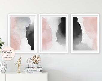 Blush Wall Art, Watercolour Prints, Set of 3 Art Prints, Digital Download, Oversized Wall Art, Printable Art Set, Bedroom Decor