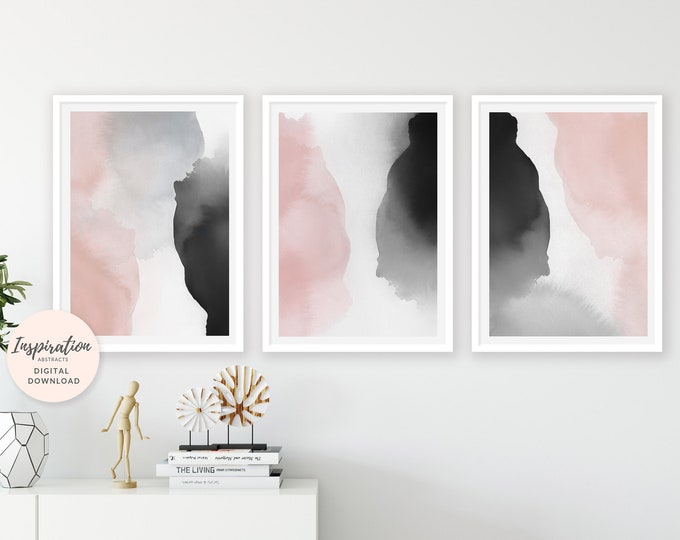 Blush Wall Art, Watercolour Prints, Set of 3 Art Prints, Digital Download, Oversized Wall Art, Printable Art Set, Bedroom Decor