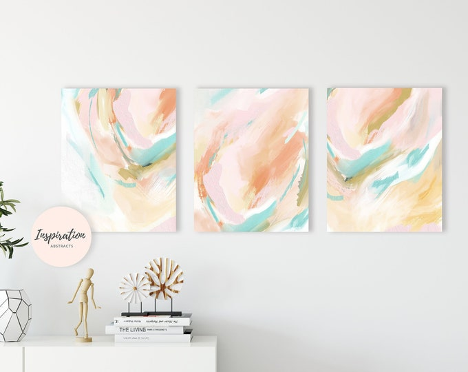 Small Abstract Paintings, 8X10 Art Prints, Small Artwork, Set of 3 Prints, Nursery Decor, Gallery Wall Art, Digital Download
