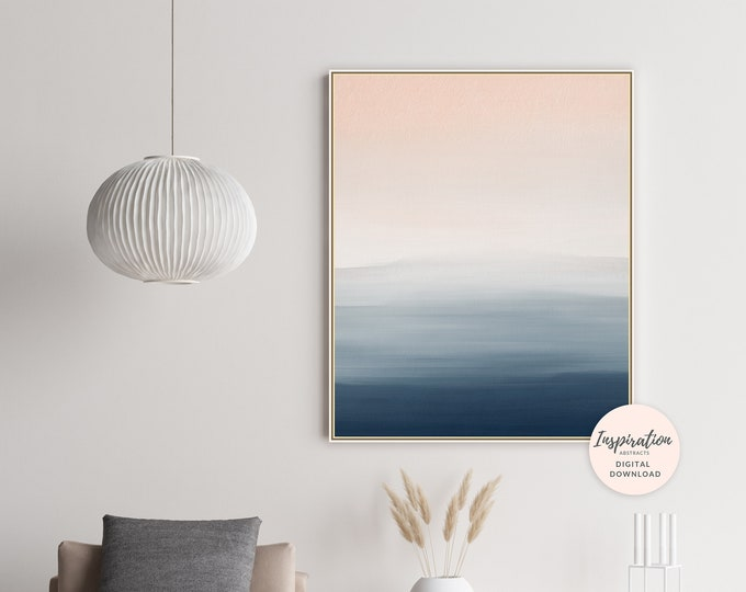 Calming Abstract Art, Blush Pink and Navy Wall Art, Printable Painting, Mixed Media Art, Watercolour and Acrylic Art, Living Room Art