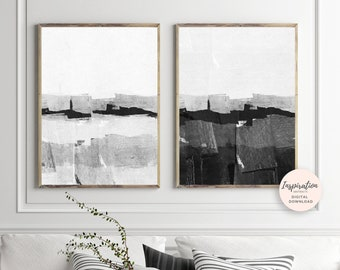 Minimalist Paintings, Vertical Wall Art,  Set of 2 Art Prints, Monochrome Prints, Black White Wall Art, Scandinavian Decor