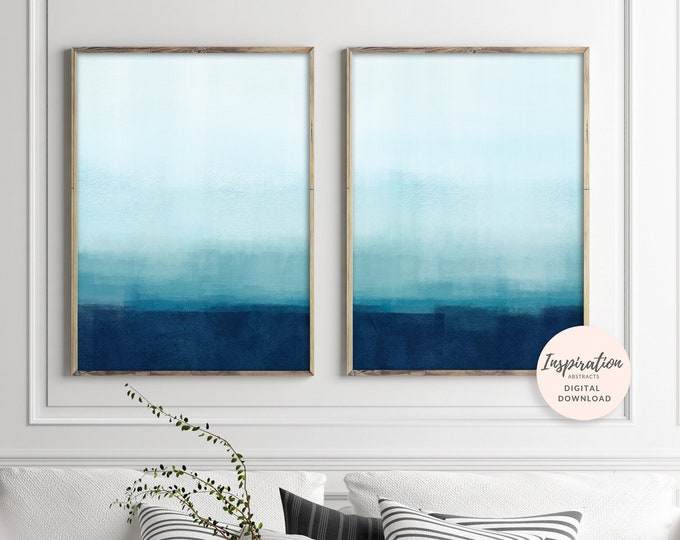 Blue Abstract Art, Set of 2 ombre Paintings, Printable Wall Art, Mixed Media Art, Ombre Wall Art, Blue Nursery Art