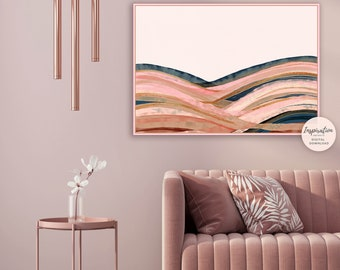 Abstract Landscape, Pink Navy Wall Art, Digital Prints, Copper Wall Art, Modern Wall Art, Printable Art, Large Wall Art, EarthTones