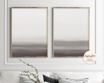 Neutral Mixed Media Art, Set of 2 Prints, Abstract Art, Beige and Brown Art, Printable Wall Art, Ombre Wall Art