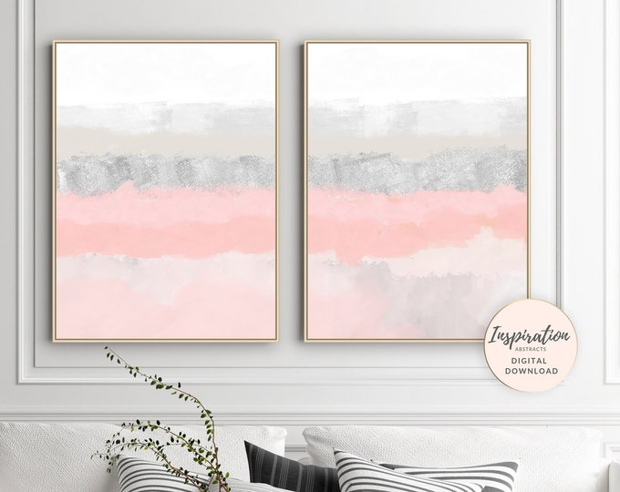 Pink Abstract Art, Set of 2 Prints, Printable Wall Art, Modern Wall Decor, Mixed Media Arts