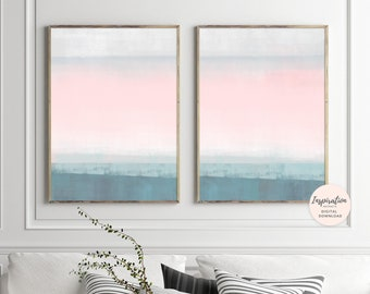 Minimalist Paintings, Pink and Teal Art, Set of 2 Art Prints, Large Acrylic Paintings, Diptych Wall Art, Relaxing Art, Modern Wall Art