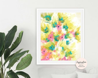 Flower Painting, 16x20 Art Print, Yellow Wall Art, Floral Print, Abstract Art, Apartment Decor, Botanical Print, Printable Wall Art