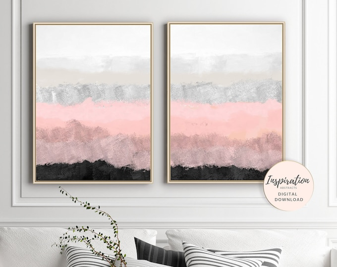 Pink and Grey Abstract Art, Set of 2 Abstract Paintings, Printable Wall Art, Modern Wall Decor, Mixed Media Art, Inspiration Abstracts