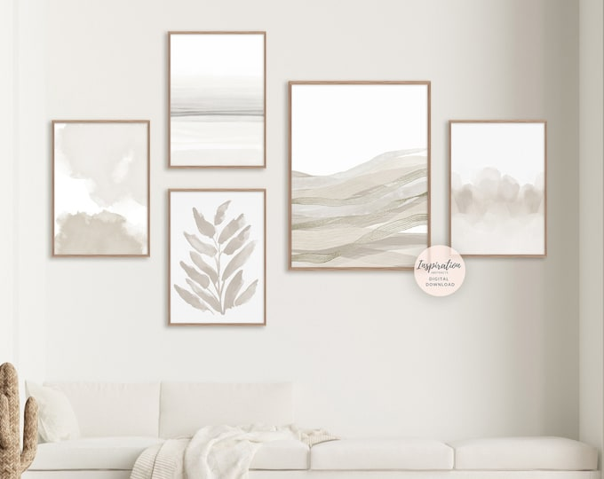 Minimal Gallery Wall Set, Set of 5 Abstract Paintings, 5 Piece Wall Art, Minimal Painting, Printable Art, Minimalist Art, Zen Wall Art