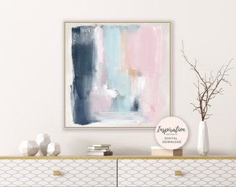 Printable Abstract Painting, Abstract Art, Brushstrokes Art, Pink and Navy Wall Art, Printable Wall Art, Nursery Decor, Acrylic Art