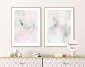 Pink and Grey Abstract Art, Living Room Art, Set Of Two Prints, Printable Wall Art, Acrylic Art, Nursery Art