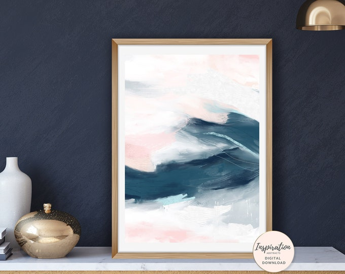Printable Abstract Art, Pink and Navy Wall Art, Vertical Wall Art, Printable Painting, 50x70 Poster, Living Room Art, Oversized Wall Art