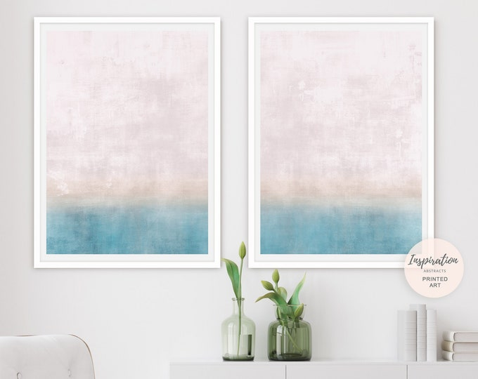 Set Of Two Pastel Abstract Paintings, Calming Wall Art, Coastal Wall Art, Minimalist Art, Bedroom Print Set, Nursery Wall Art, Large Art