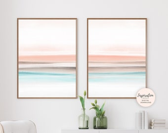 Set of 2 Watercolour Prints, Modern Wall Art, 18x24 Art Prints, Printable Wall Art, Bedroom Decor, Blush Pink Art, Abstract Art