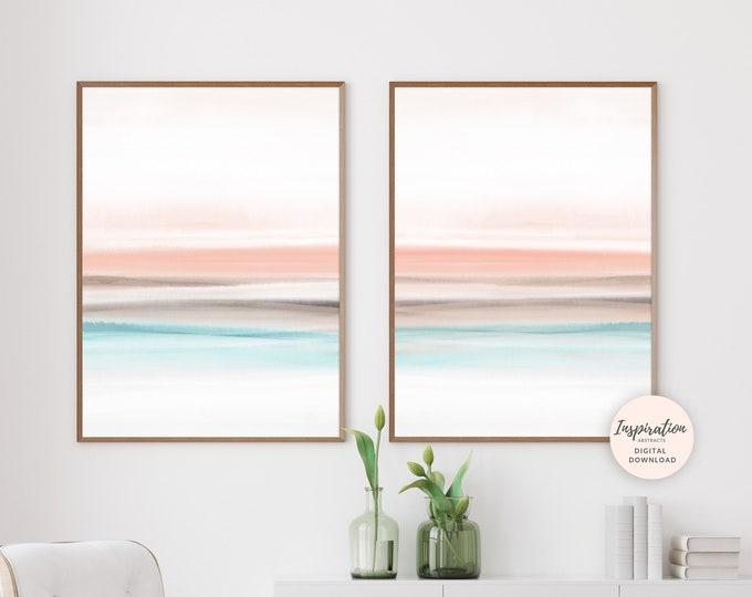 Set of 2 Watercolour Prints, Modern Wall Art, 18x24 Art Prints, Printable Wall Art, Bedroom Decor, Blush Pink Art, Abstract Art