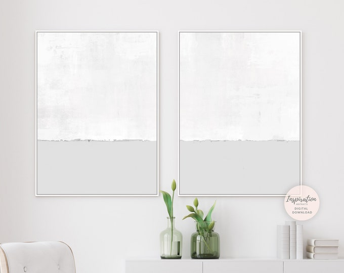 White And Grey Minimal Abstract Paintings, Set of 2 Prints, Minimalist Print Set, Printable Art, Large Wall Art, Rothko Inspired, Large Art