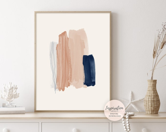 Blush Pink and Navy Mixed Media Art Print, Printable Wall Art, Abstract Art, Watercolour and Acrylic Art, Living Room Art