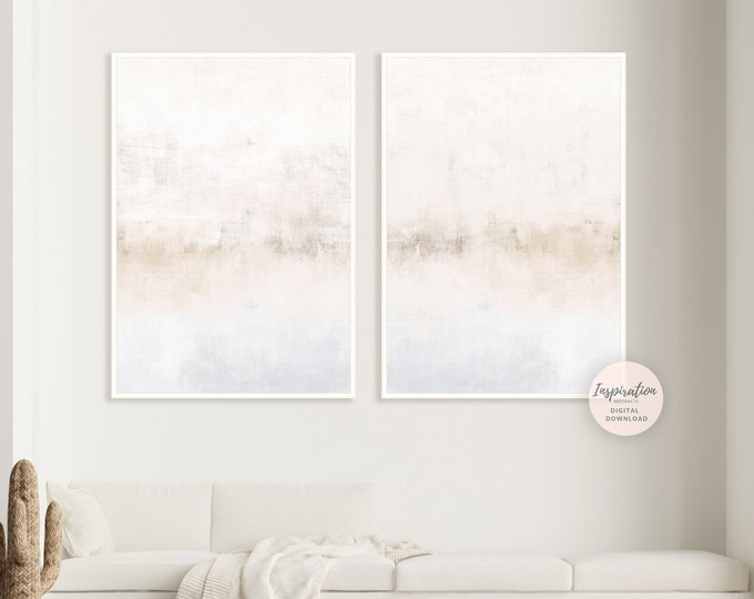 Grey and Beige Abstract Paintings, Printable Art, Set of 2 Prints, Large Wall Art, Minimalist Art, Living Room Art, Zen Wall Art