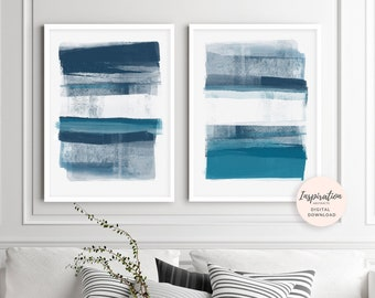 Minimal Abstract Art, Set Of 2 Art Prints, Blue Abstract Paintings, 50X70 Posters, Scandinavian Prints, Lounge Paintings