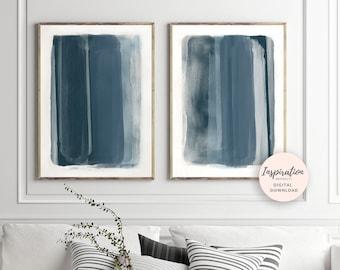 Inky Blue Prints, Printable Abstract Art, Mixed Media Art, Printable Wall Art, Blue Nursery Art, Large Wall Art