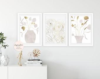 Minimal Flower Prints, Set of 3 Art Prints, Collage Art, Nursery Wall Art, , 16x20 Prints, Large Wall Art, Floral Decor
