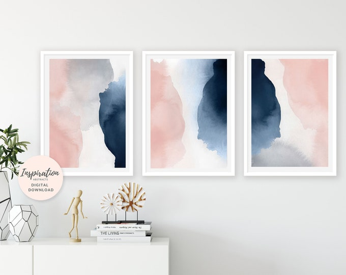 Large Wall Art, Set of 3 Prints, Pink Navy Wall Art, Oversized Wall Art, 24x36 Art Prints, Printable Wall Art, Bedroom Decor