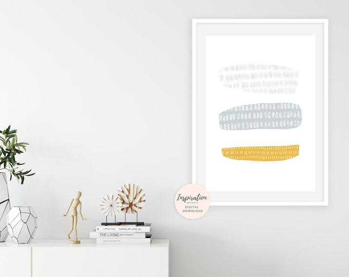 Yellow and Grey Mixed Media Art, Collage Art, Serene Art Print, Beach House Art, Large Wall Art, Abstract Wall Art, Mixed Media Art