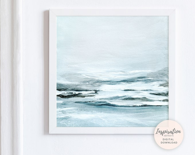 Large Landscape Painting, Large Wall Art, Pale Blue Art, Printable Art, Acrylic Painting, Zen Wall Art, Abstract Art