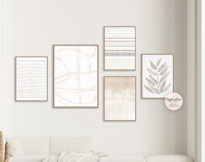 Minimalist Gallery Wall Set, Abstract Art, 5 Piece Wall Art, Printable Art, Living Room Decor, Zen Wall Art, Minimalist Print Set