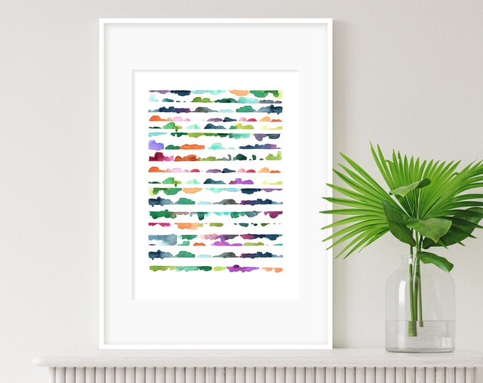 Watercolour Painting, Abstract Art, Colourful Wall Art, Nursery Art, Kids Room Art, Modern Art, Minimalist Art, Cheerful wall art