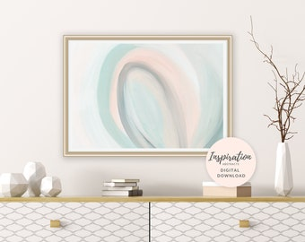 Pastel Abstract Painting, Affordable Wall Art, Abstract Art Print, Calming Painting, Nursery Decor, Living Room Art