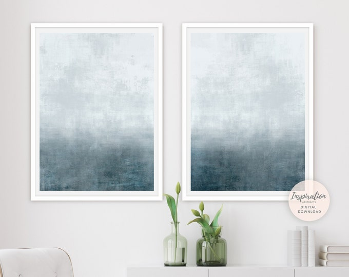 Set Of Two Calming Abstract Paintings, Minimal Paintings, Printable Art, Zen Wall Art, Large Wall Art, Ombre Wall Art Set, Acrylic Art