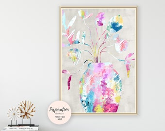 Colourful Flower Print, Collage Art, Maximalism, Floral Painting, Colourful Art Print, Large Wall Art, Flowers In Vases, Mixed Media Art
